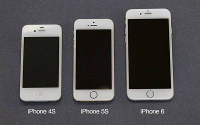Compare sizes of iPhones 4S, 5S and 6
