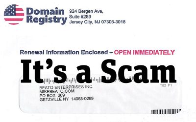 Avoid getting scammed by Domain Registry direct mail